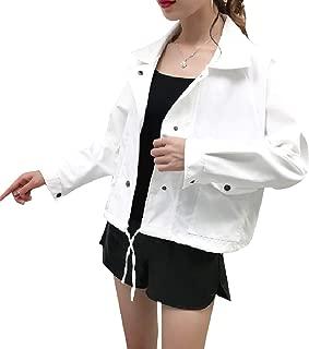 RkBaoye Women Single Breasted Long Sleeve Tunic Back Cotton Short Jackets