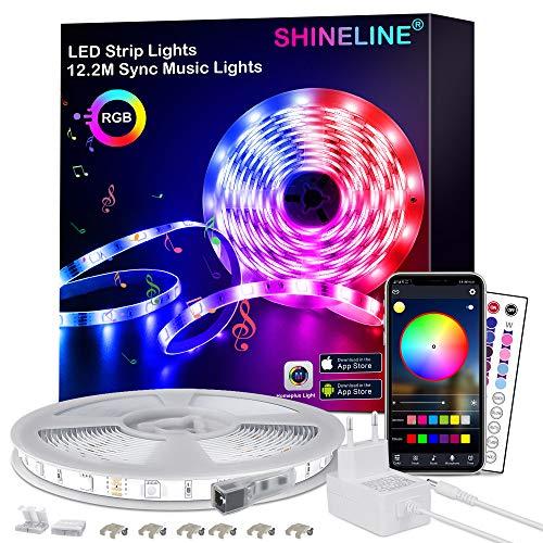 LED Strip 12.2M,SHINELINE LED Streifen mit APP Steuerung und Fernbedienung,RGB 5050 LED Lichter Sync Musik für Schlafzimmer,Raum,Küche,Party,Decke,Weihnachten Deko
