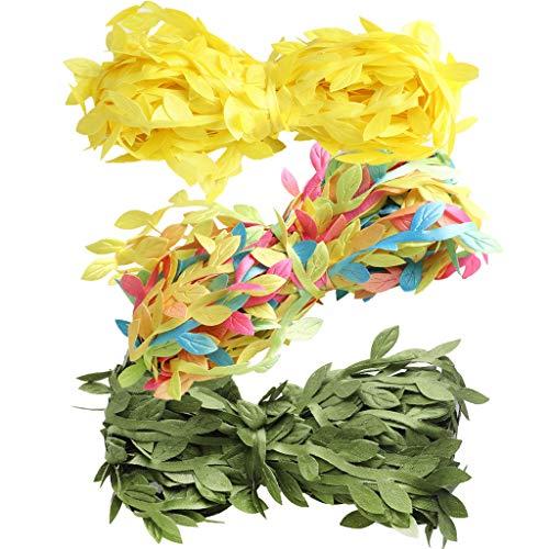 PETSOLA Recorte De Cinta De Hoja Artificial Para Hacer Guirnaldas Embalaje De Regalo De Bricolaje Embalaje 30m - Amarillo Verde Colorido, tal como se describe