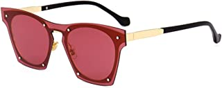LUKEEXIN Colored Lens One-Piece Style UV Protection Sunglasses for Women Men Outdoor Driving Travelling (Color : Red)
