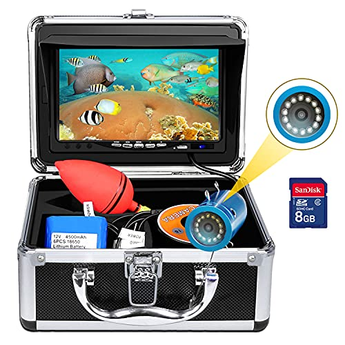 Portable Underwater Fishing Camera, okk Upgraded Waterproof IP68 DVR Fish Finder with 7 inch HD Screen and 12pcs White LED Light for Ice Fishing Lake, Boat, Sea, River 50ft Cable (Include 8GB SD Card)
