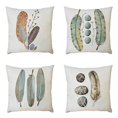 Fundas de Cojines Para Sofa 45x45-4PC/Conjunto Vintage Pluma Funda de almohada de Mezcla de lino para Jardin Cama Decorativo (01)