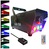 Easife Fog Machine with Lights 500W Professional DJ Smoke Machine with Controllable LED&Wireless Remote Portable Hazer 2000CFM Huge Fog Maker Generator for Halloween Chrismas Parties Wedding Stage Bar