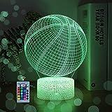 WHATOOK Baloncesto luz nocturna para niños regalos de baloncesto 3D ilusión lámpara con control remoto 16 colores cambiando mejor juguete para aficionados al baloncesto deporte