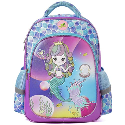 Spring Country Girls Backpack for School, Children Casual Daypack Book Bag Rucksack (Mermaid Glitter)