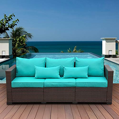 3-Seat Patio PE Wicker Couch Furniture Outdoor Brown Rattan Sofa with Washable Turquoise Cushions