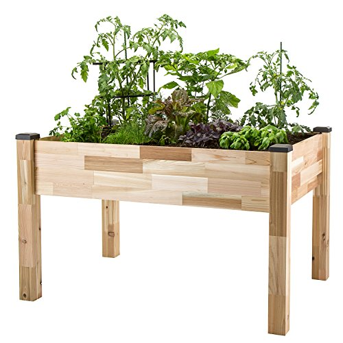 """CedarCraft Elevated Cedar Planter (23"""" x 49"""" x 30'H) + Greenhouse Cover - Complete Raised Garden kit to Grow Tomatoes, Veggies & Herbs. Greenhouse extends Growing Season, Protects Plants"""