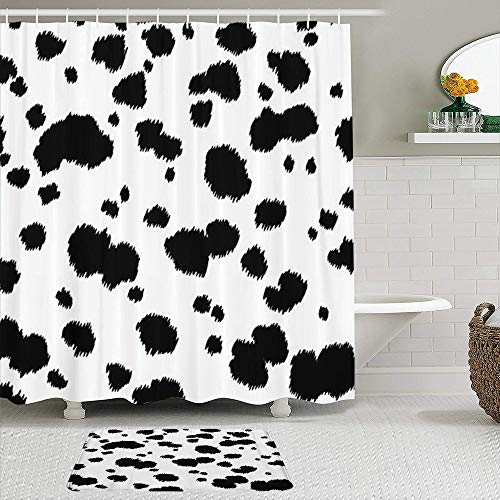 COVASA Shower Curtain,Spot Dalmatian Animal Cow Fur Dog Skin Abstract,2pcs Set with Hooks Waterproof Polyester Fabric Bathroom Decor 71 in