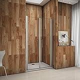 Porte de douche pivotante 75x195 cm verre anticalcaire installation en niche les vitres peuvent tourné à 180°