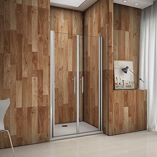 Porte de douche pivotante 80x185cm verre anticalcaire installation en niche les vitres peuvent tourné à 180°