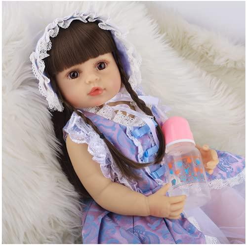 Jingmei MuñEcas Reborn Silicona Blanda, 22 Inch NiñO Nacido De Nuevo - con Accesorios para Vestidos De Princesa MuñEca De Silicona, For Girls and Boys