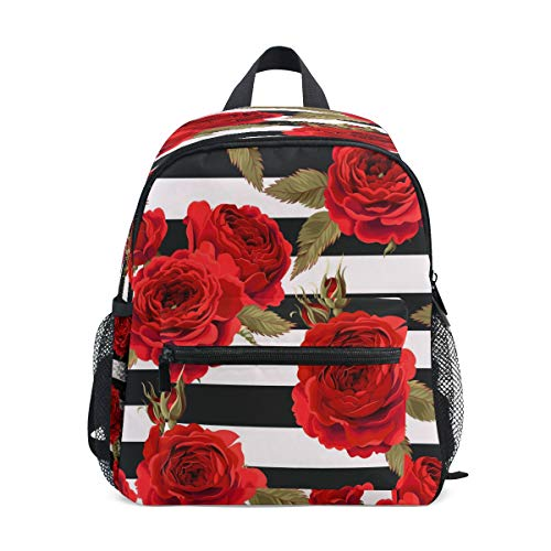 LILIFE Vintage Red Rose Floral Kids Backpacks Book Bag Water Resistant Elementary School Bags with Chest Clip Travel Hiking Rucksack Snack Diapers Daypack for Children Boys Girls