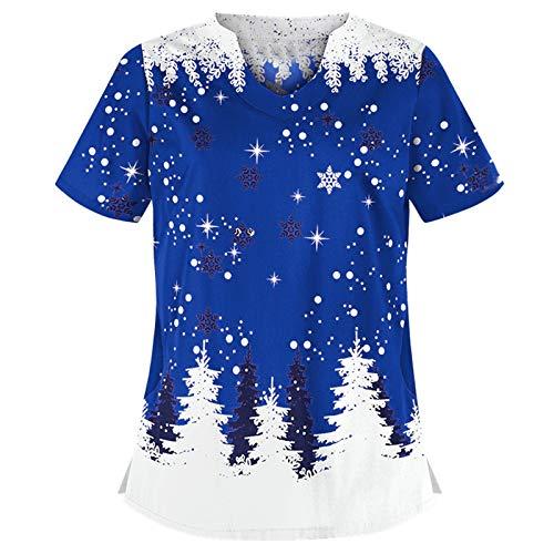 Wocachi Scrub Tops for Women, Christmas Print V-Neck Short Sleeve Black Scrubs Cute Stylish Xmas Workwear Scrub Shirts Cheap Boyfriend Women's Floral Printed 3/4 Sleeve O-Neck Sister Wife Casual
