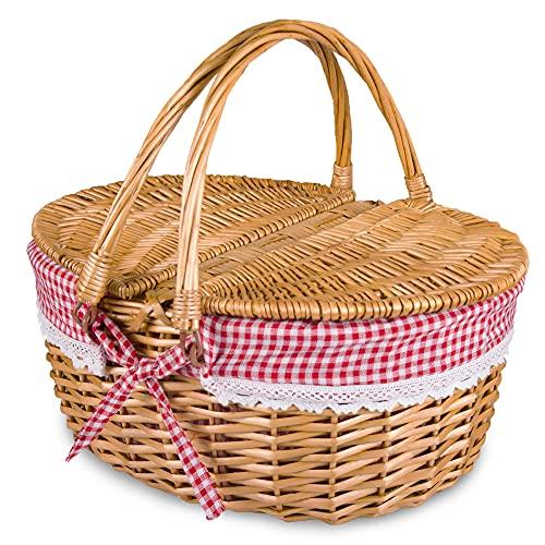 Rurality Cesta de mimbre para picnic con tapa y asa, resistente cuerpo tejido con forro lavable a cuadros, color rojo