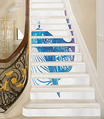 Stair Riser Decals King of Ocean is My Best Friend in Watercolor Abstract Style Quote on Whale Print Kitchen Bathroom Wallpape Great Way to Hide Scuffed Stairs Blue and Purple 39 x 7 Inch, 13 PCS