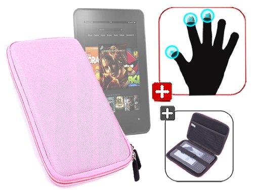 """DURAGADGET Housse étui résistant en EVA Rigide Rose + Gants capacitifs conducteurs Taille L (Large) pour Nouvelle Tablette Kindle Fire 7"""" d'Amazon – G"""