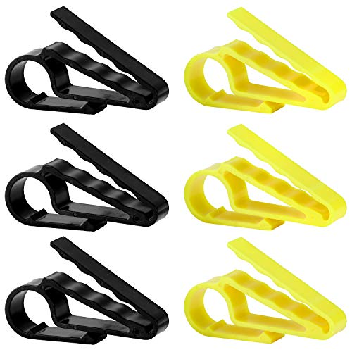 Fpxnb 6 Pack Cigar Clip Set, Cigar Holders in 2 Colors Cigar Minder for Golfers (Black x 3, Yellow x 3)