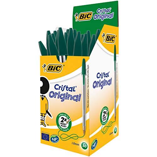 BIC Kugelschreiber Cristal Medium, 50 Kulis in Grün fürs Büro, Strichstärke 0,4 mm, Dokumentenecht