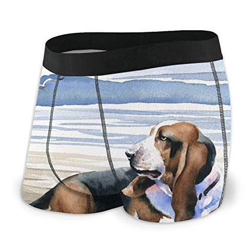 Herren-Boxershorts, eng anliegend, verrückter Basset Hound Trunks, schnell trocknende Unterwäsche Gr. XXL, Schwarz