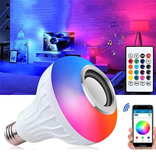 LCYZ Bombilla LED Música, Bombilla Cambiante Color RGB Altavoz Bluetooth E27 con Control Remoto para Fiestas, Hogar, Decoraciones Navideñas Halloween