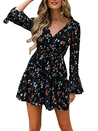 I3CKIZCE Mini vestido de cóctel para mujer de estilo casual, cuello en V, estampado floral de manga larga, encaje chic a la moda sexy vintage elegante, Negro , M