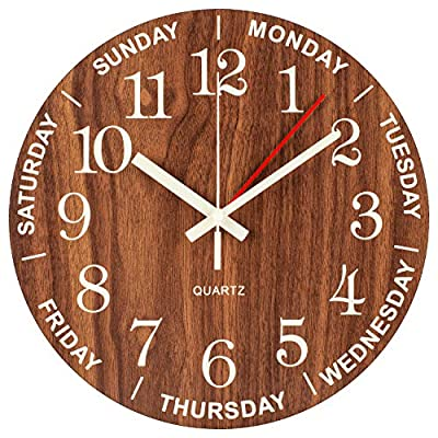 BEW Night Light Wall Clock, Time of Day & Day of The Week Luminous Clock, Numerals Hands Glow in Dark, Silent Battery Operated Decorative Wooden Clock for Living Room, Kids Bedroom, Kitchen - 14 Inch