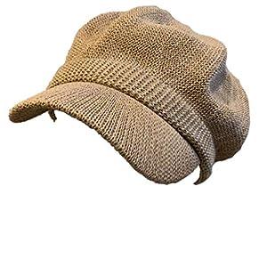 no brand (カラー : キャメル ) 帽子 キャスケット 麻風 ペーパー サマー 涼しく快適に過ごせる シンプルキャスケット帽 春 夏 男女兼用 サイズ調整