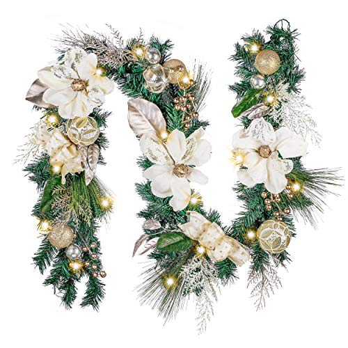 Valery Madelyn Pre-Lit 6 Feet Elegant Champagne Gold Christmas Garland with Shatterproof Ball Ornaments, Ribbon, Artificial Magnolia, Battery Operated 20 LED Lights