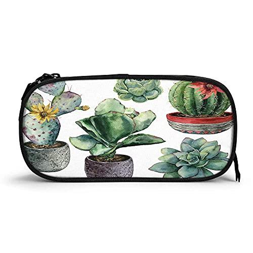 Federmäppchen mit Aquarell-Kaktus, hohe Kapazität, Gelb und Rot, Blumen, blühender Kaktus, Botanische natürliche Pflanze, langlebig, Stifttasche,...