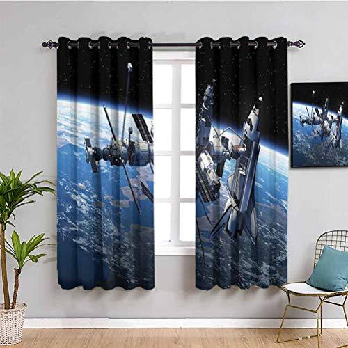 Cortinas decorativas para sala de estar, 2 paneles, transbordador espacial y vistas a la estación, Cosmonaut Adventure on the Myst Globe Orbit, habitación oscura, azul, gris, negro, 54 x 39 pulgadas