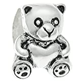 Queenberry, charm in argento Sterling a forma di orsetto con cuore, per bracciali europei