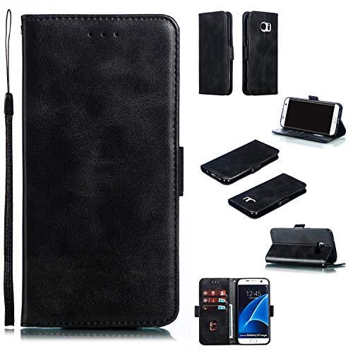 Docrax Galaxy S7 Edge Handyhülle, Hülle Leder Case mit Standfunktion Magnetverschluss Flipcase Klapphülle kompatibel mit Samsung Galaxy S7Edge/G935F - DOYTE010290 Schwarz