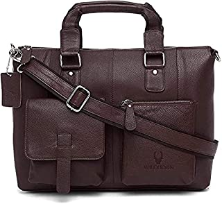 Wildhorn Genuine Leather Messenger Bag, Stylish 16 Inches Laptop Bag with Storage and Padded Compartments, Brown, 35 WHMB5...