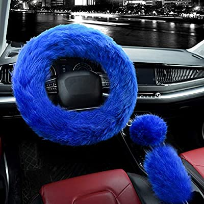 Valleycomfy 3Pcs Fluffy Steering Wheel Cover Set, Winter Warm Soft Fur Fuzzy Steering Wheel Covers for Women/Girls 15 Inch Universal (Royal Blue)