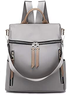 XHHWZB Fashion Stitching Nylon Backpack Korean Version of The Multi-Function Handbag Large Capacity Outdoor Travel Bag (Color : Gray)
