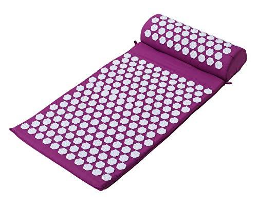 La acupresión Mat y masaje almohada Conjunto crónico de espalda y cuello Alivio del Dolor masaje de cuerpo completo Yoga Mat Cojín acupuntura para la ciática, terapia de puntos gatillo,Púrpura