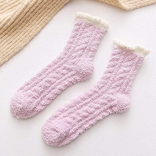 Calcetines de Lana de Coral de Invierno en Tubo Calcetines para Adultos Calcetines cálidos Salvajes Calcetines de Toalla para Adultos Calcetines-Purple.