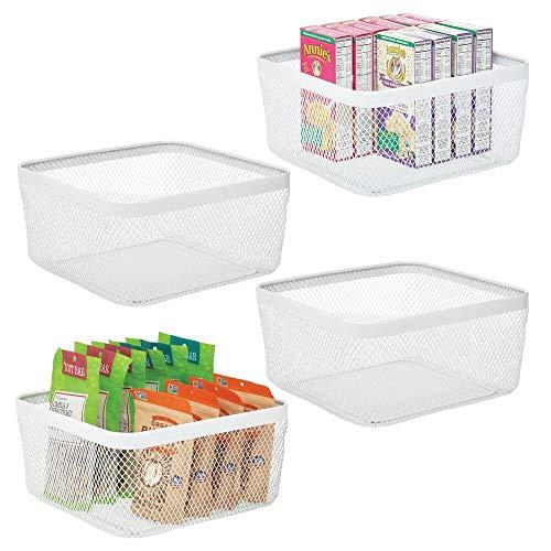 mDesign Juego de 4 cajas multiusos de metal de 30,5 cm x 30,5 cm x 15,2 cm – Organizador de cocina, despensa, baño y más – Cesta de almacenaje de alambre, compacta y universal – blanco