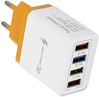 USB-oplader, 4-poorts High Speed oplaadadapter USB voedingen 3.1A snellader met meerdere poorten QC3.0-telefoonlader voor ...