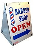 "Barber Shop Open w\/Dirrectional Arrow 2-Sided 18"" x 24\"" Sandwich Board Sign Kit"