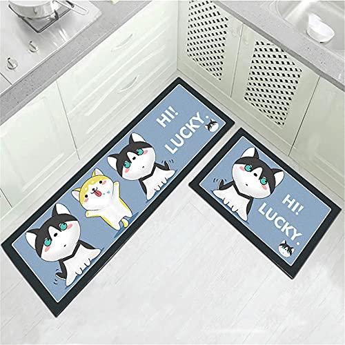 Treer Tappetino da Cucina Lavabili Antiscivolo con Motivo 3D Creativo, Rettangolo Passatoia Zerbino Tappeto per Ingresso, Bagno, Corridoio e Camera da Letto (40x60cm,Gattino e Cucciolo)