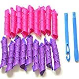 DEXING Hair Curlers, 18Pcs Magic Hair Rollers with Styling Hooks Heatless Hair Curlers for Long Short Hair Not Heat (30cm/12''-18pcs, Hot Pink & Purple)