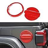 YiXunTen for 2018+ Jeep Wrangler JL Red ABS Car Fuel Door Gas Cap Cover Cover Decor Sticker Decal Trim