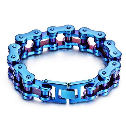Herren Edelstahl Regenbogen Fahrrad Kette Armband, Mode Charm Fahrrad Kette Bangles,Blau