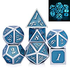 DND Metal Dice Set:One set dice total 7 pcs including D4,D6,D8,D10,D12,D20 and D%. Net weight: 3.76Oz. it's heavier than a normal dice and very nice feeling. Glow in the Dark: The dices set glowing in the dark after absorbing the light source for a f...