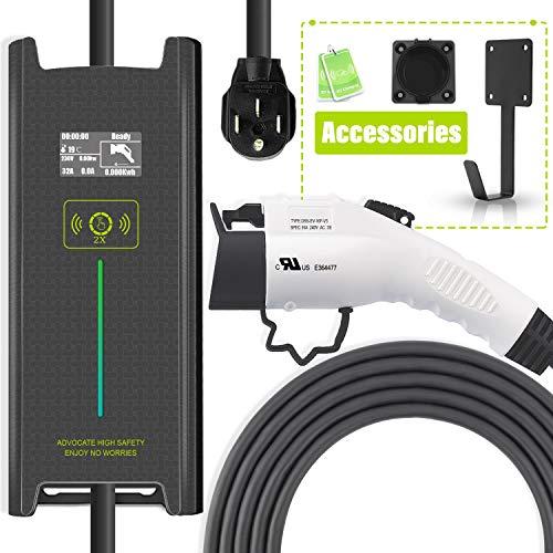 Megear EV Charger Level 2, 25ft 200V-240V 10/12/16/24/32 Amp Adjustable Portable EV Charging Station, Electric Vehicle Charger with Timer for Delay Charging(NEMA14-50 Plug)