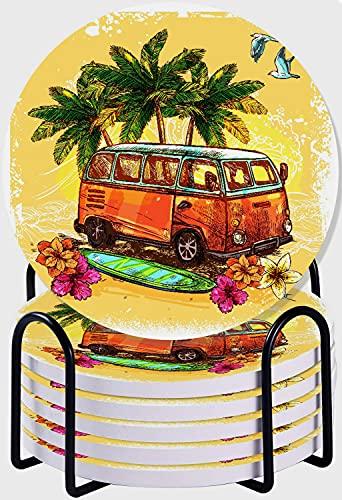 GUVICINIR Juego de 6 Posavasos de cerámica Absorbente con Base de Corcho,Apto para Tipos de Tazas,Surf Hippie Classic Old Bus con Tabla de Surf Freedom Holiday Vida exótica Estilo de Dibujo Arte