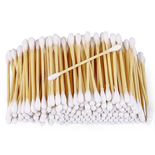Bastoncillos de algodón de bambú, 1000 unidades (10 x 100 paquetes), 100% biodegradables, veganos y sostenibles