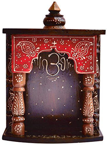 Handicraft Store Hindu Religious Colorful Wood Temple with Om Symbol and Conch Shell Design for Pooja and Hindu Religious Purpose, for Pooja Room at Home and Office Temple