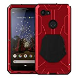 Pixel 3a XL Case,Google Pixel 3a XL Metal Case with Gorilla Glass Screen Protector Armor Tank Military Aluminum Alloy Bumper Hybrid Soft Rubber Military Shockproof Hard Defender Metal Cover,Red